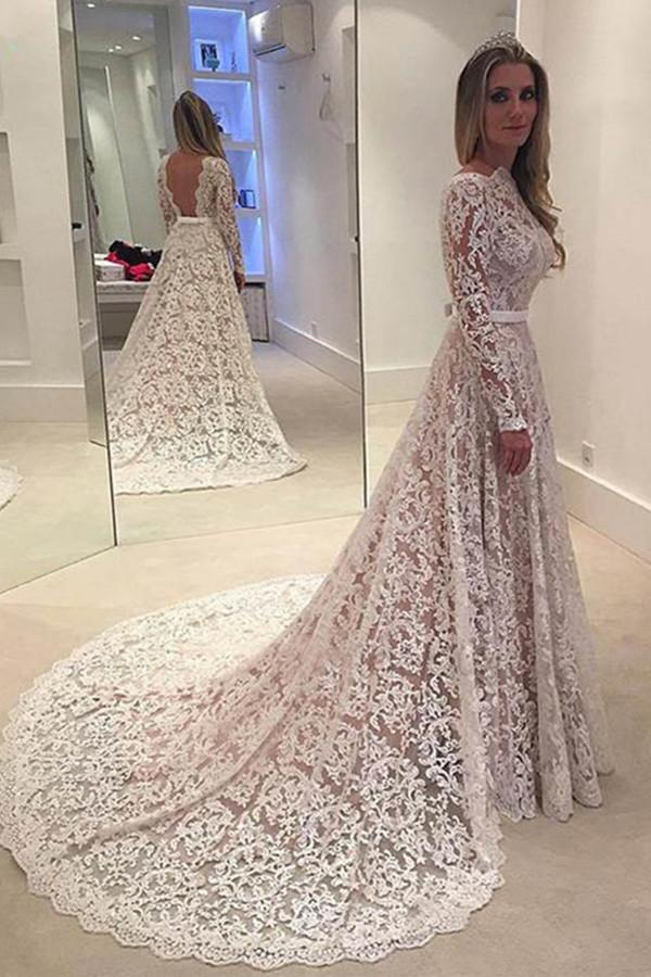 White A Line Long Sleeves Open Back Lace Wedding Dress Bridal Gown