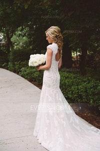 Elegant White Sleeveless Empire Backless Tulle Bridal Gown Wedding Dress With Lace Appliques - EVERISA