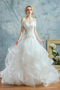 Elegant White Mermaid Off Shoulder Tulle Wedding Dress Bridal Gown With Beaded Lace - EVERISA