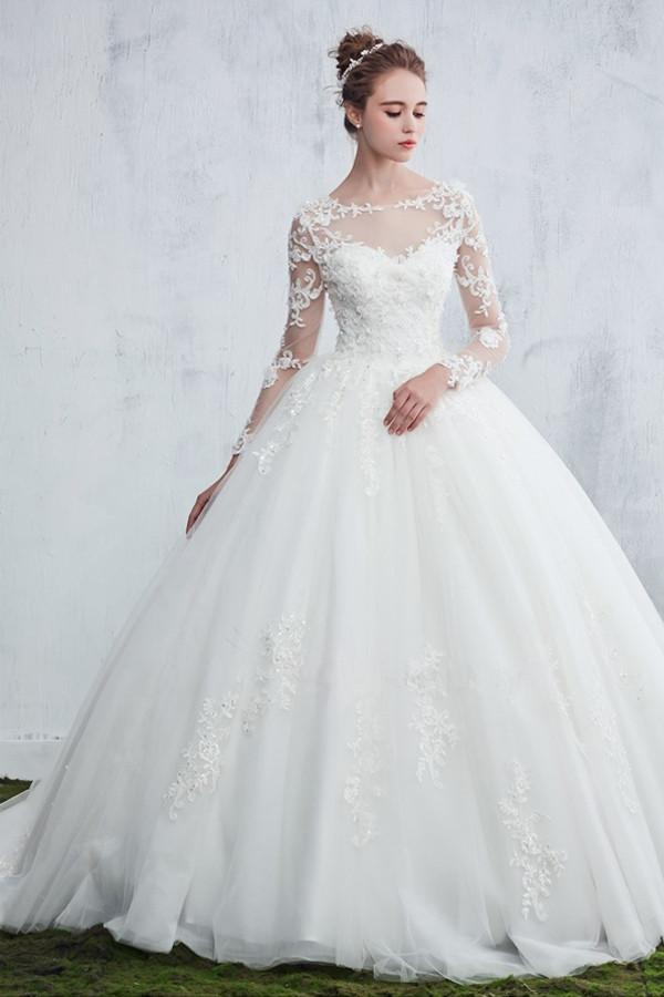 43bf99d5697 Elegant White Scoop Neck Long Sleeves Backless Tulle Bridal Gown Beaded  Lace Wedding Dress