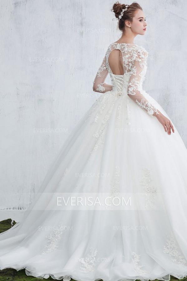 0f62964ec57 Elegant White Scoop Neck Long Sleeves Backless Tulle Bridal Gown Beaded Lace  Wedding Dress - EVERISA