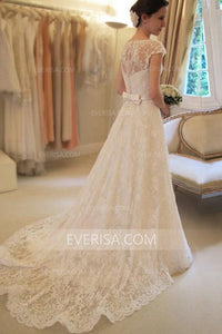 Elegant White A-Line Cap Sleeves Lace Wedding Dresses Cheap Bridal Gown With Bowknot - EVERISA