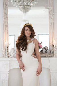 Charming White Mermaid Sleeveless Empire Lace Bridal Gown Affordable Wedding Dresses - EVERISA