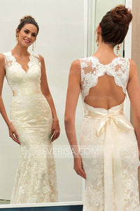 Simple Ivory Slim-line V Neck Sleeveless Lace Wedding Dress Bridal Gown With Sash - EVERISA