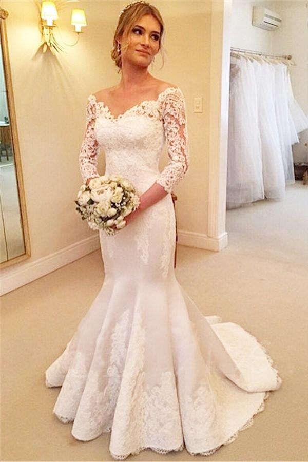 Elegant White Mermaid V Neck 3 4 Sleeves Satin Bridal Gown Wedding Dress With Lace Appliques