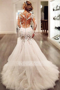 Elegant White V-Neck Long Sleeves Tulle Wedding Dresses Bridal Gown With Lace Appliques - EVERISA