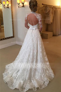 Charming White High Neck Long Sleeves Lace Wedding Dress Cheap Bridal Dresses - EVERISA