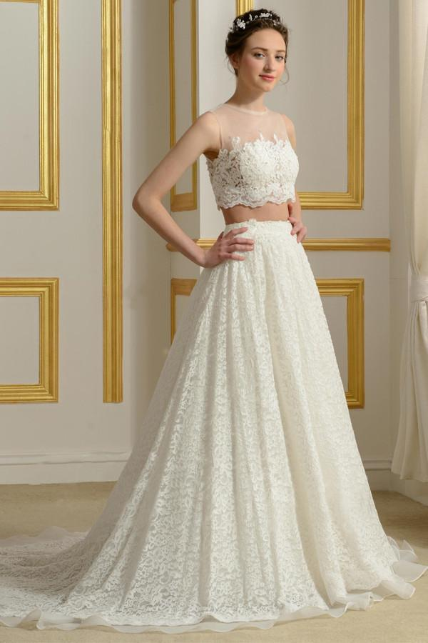 c26034ccc0287 Fashion White Two Piece Scoop Neck Sleeveless Lace Wedding Dress Bridal Gown  - EVERISA