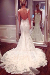 High Quality White Sweetheart Open Back Lace Bridal Gown Cheap Wedding Dresses - EVERISA