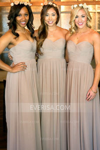 Elegant Silver Grey Sweetheart Long Chiffon Bridesmaid Dresses Evening Dress