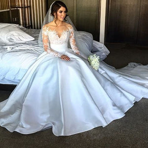 Unique White Long Sleeves Side Slit Lace Wedding Dresses Bridal Gown With Detachable Satin Skirt - EVERISA
