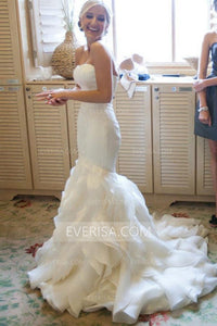 Luxury White Mermaid Strapless Sleeveless Organza Bridal Gown Wedding Dress - EVERISA