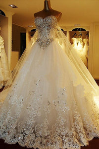 Gorgeous White A-Line Sweetheart Sleeveless Tulle Wedding Dress Bridal Gown With Appliques Beading - EVERISA