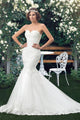 New White Mermaid Sweetheart Backless Tulle Wedding Dress Bridal Gown With Lace Appliques