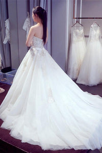 Elegant White A Line Strapless Backless Tulle Wedding Dresses Bridal Gown With Beaded Lace - EVERISA