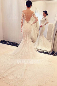 New White Mermaid Off Shoulder Lace Wedding Dresses Long Bridal Gown With Long Sleeves