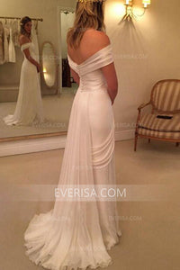 2018 White Off Shoulder Backless Slit Chiffon Wedding Dresses Bridal Gown With Lace - EVERISA