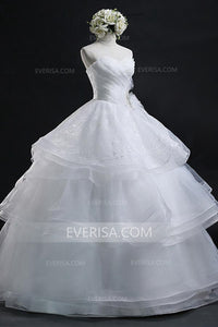 2018 White Sweetheart Sleeveless Organza Wedding Dresses Lace Bridal Gown With Beaded - EVERISA