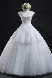 High Quality White Scoop Neck Backless Tulle Bridal Gown Tiered Wedding Dress With Lace Appliques - EVERISA