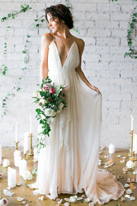 Sexy White Deep V-Neck Open Back Chiffon Wedding Dresses Bridal Gown With Ruched - EVERISA