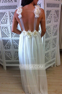 Fashion White V-Neck Sleeveless Chiffon Wedding Dresses Bridal Gown With Flowers - EVERISA