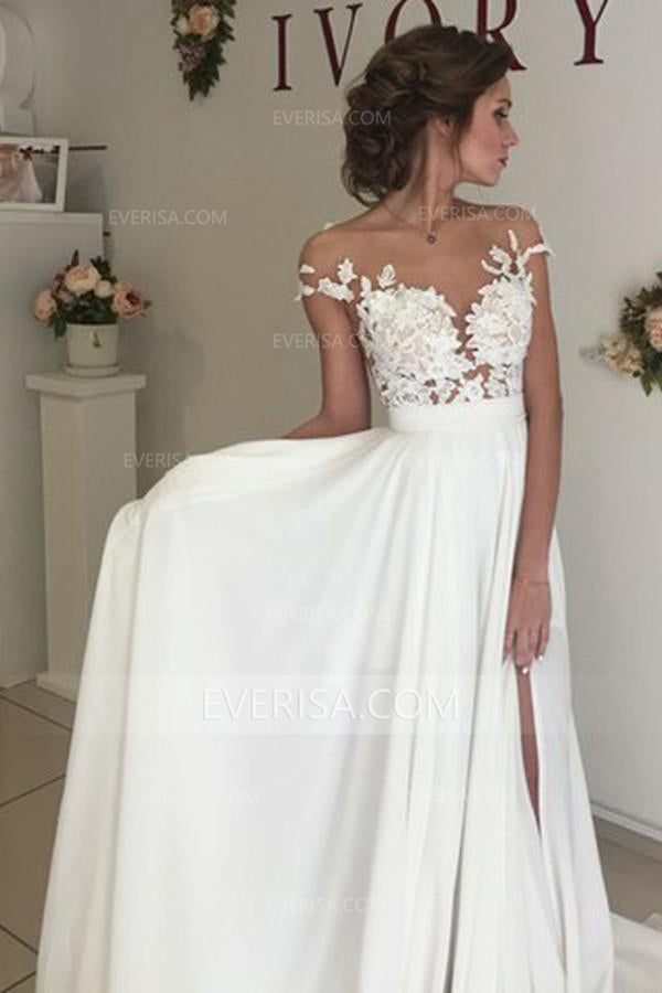 b185af608a56 Fashion White Cap Sleeves Empire Waist Chiffon Wedding Dresses Bridal Gown  With Lace Appliques - EVERISA
