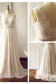 Simple White V-Neck Sleeveless Empire Chiffon Wedding Dresses Bridal Gown With Lace - EVERISA
