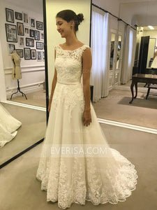 Elegant White Scoop Neck Sleeveless Lace Wedding Dresses Affordable Bridal Gown - EVERISA