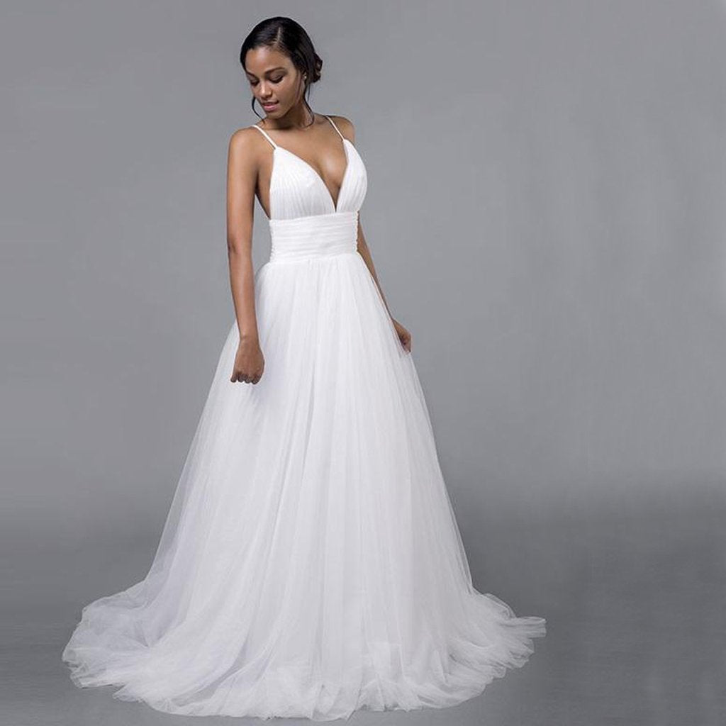 2f8141b2e0b1 Sexy White V-Neck Open Back Tulle Wedding Dresses Affordable Bridal Gown -  EVERISA