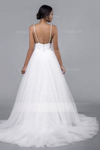 Sexy White V-Neck Open Back Tulle Wedding Dresses Affordable Bridal Gown - EVERISA