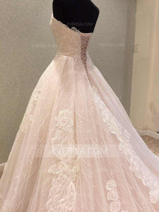 Charming Pink A-Line Sweetheart Sleeveless Lace Wedding Dresses Bridal Gowns - EVERISA