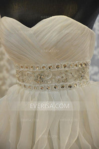 White Bridal Gown Strapless A-line Backless Wedding Dress With Ruffles - EVERISA