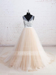 Cheap Wedding Dresses V Neck Open Back Sleeveless Long Bridal Gown - EVERISA