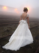 White Wedding Dresses V Neck Cap Sleeves Chiffon Bridal Gown With Beading - EVERISA