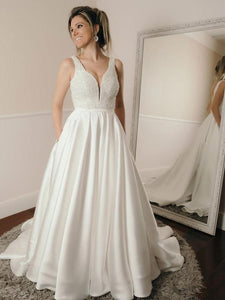 White V-Neck Sleeveless Bridal Gown A-Line Backless Satin Wedding Dresses - EVERISA