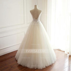 V-Neck White Wedding Dress A-line Sleeveless Open Back Bridal Gown With Beaded - EVERISA