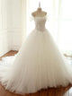 White Bridal Gown A-line Off Shoulder Beaded Cheap Wedding Dresses - EVERISA