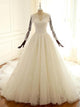 White Scoop Neck Long Sleeves Open Back Wedding Dresses Long Bridal Gown With Lace - EVERISA