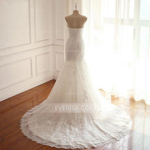 White Strapless Sleeveless Mermaid Wedding Dresses Cheap Bridal Gown With Lace Appliques - EVERISA