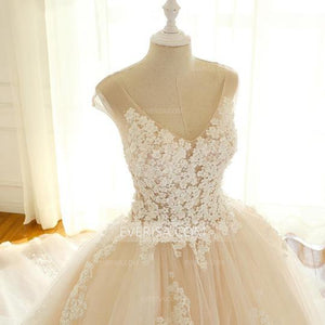 Elegant Blush Pink Empire V-Neck Tulle Wedding Dresses A Line Cheap Bridal Gown - EVERISA