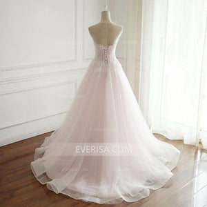 Strapless Pale Pink Bridal Gown Sweetheart Sleeveless Cheap Wedding Dresses - EVERISA