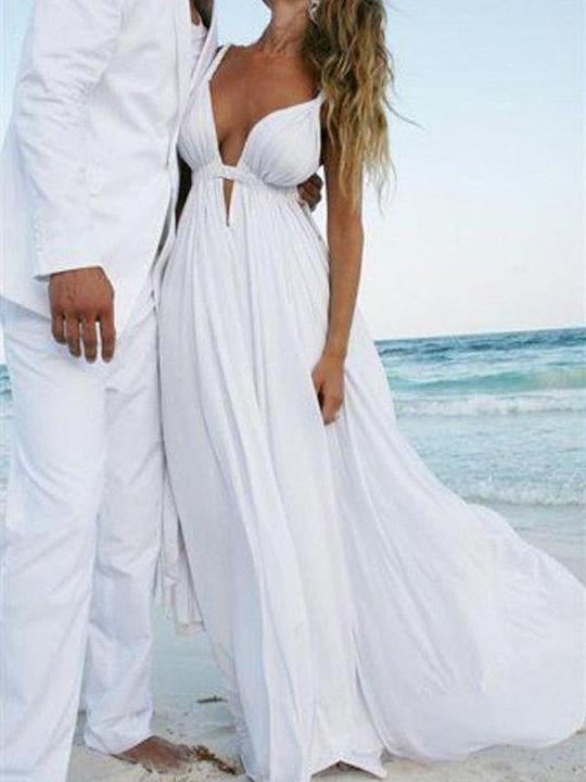 Sexy White V Neck Chiffon Bridal Gown Sleeveless Beach Wedding Dresses