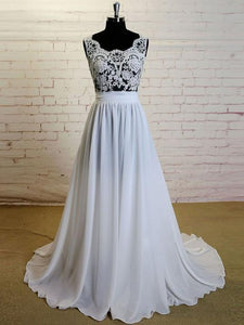 Simple White Chiffon Wedding Dresses Sleeveless Empire Lace Bridal Gown With Sash - EVERISA