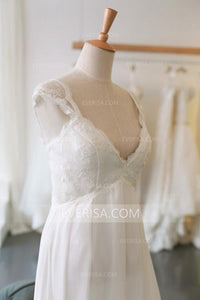 White Simple Bridal Gown Empire V-Neck Cap Sleeves Chiffon Wedding Dresses - EVERISA
