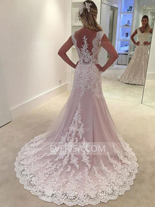 Pink Lace Wedding Dresses V-Neck Empire Sleeveless Long Bridal Gown - EVERISA