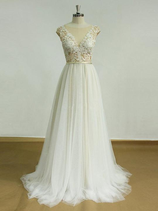 650f11d60adc Sexy Open Back Wedding Dresses Empire Cap Sleeves Lace Bridal Gown - EVERISA