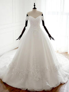 A-line Sweetheart Off Shoulder Bridal Gown Backless Long Wedding Dresses - EVERISA