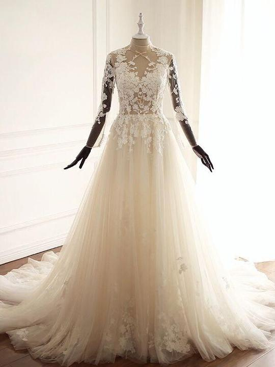 63772712928 Elegant A-Line High Neck Long Sleeves Wedding Dresses Bridal Gown With Lace  - EVERISA
