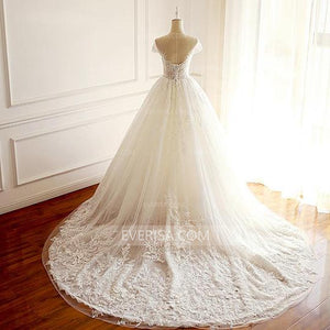 White Scoop Neck Cap Sleeves Long Wedding Dresses Cheap Bridal Gown - EVERISA