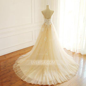 Spaghetti Strap A-Line Lace Bridal Gown Sleeveless Cheap Wedding Dresses - EVERISA
